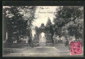 AK Southbridge, MA, Entrance to Oak Ridge Cemetery