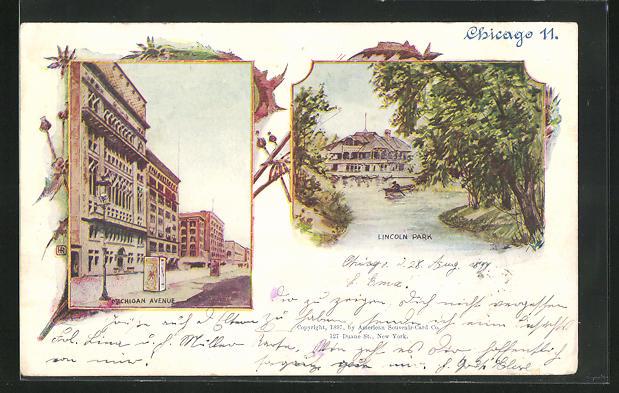 Lithographie Chicago, IL, Lincoln Park, Michigan Avenue
