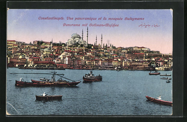 AK Constantinople, Panorama mit Soliman-Moschee
