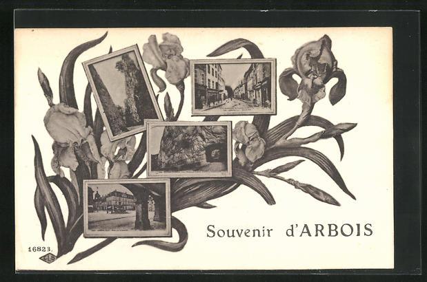 AK Arbois, Stadtimpressionen im Rahmen zwischen Blumenbukett