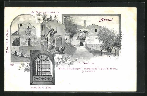 AK Assisi, S. Damiano, S. Chiare fuga i Saraceni, Tomba di S. Chiara