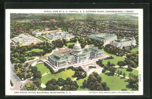 AK Washington D.C., Aerial View of U.S. Capitol, Supreme Court and Congressional Library