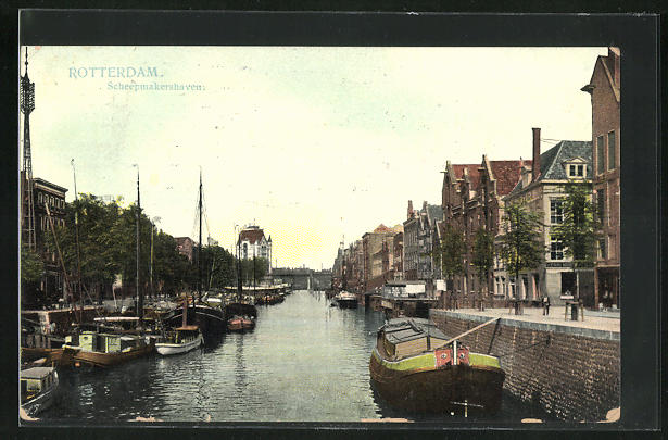 AK Rotterdam, Scheepmakershaven, Boote an Kaimauer, Häuserfassaden