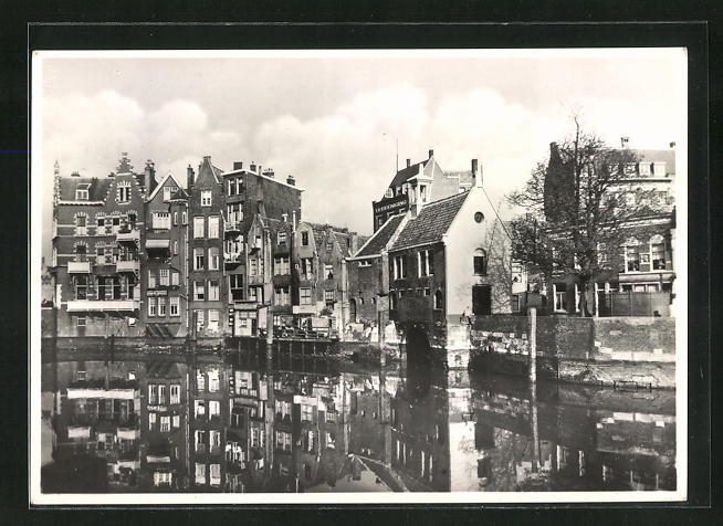 AK Rotterdam, Aelbrechtskolk, Häuserfassaden spiegeln sich im Wasser