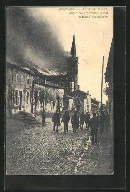 AK Woinville, durch die Franzosen selbst in Brand geschossene Kirche