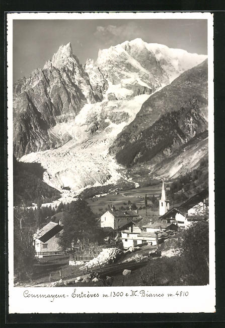 AK Courmayeur-Entrèves, Ortsansicht gegen Monte Bianco