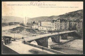 AK Bedarieux, Le Pont Vieux, les Quais et la Rue Saint-Louis