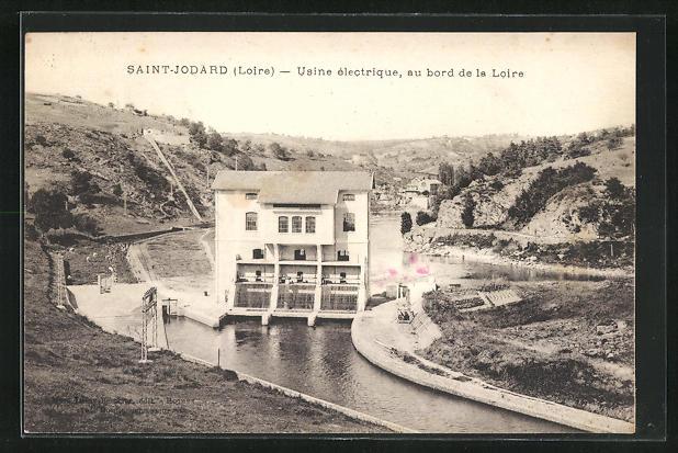AK Saint-Jodard, Usine electrique, au bord de la Loire