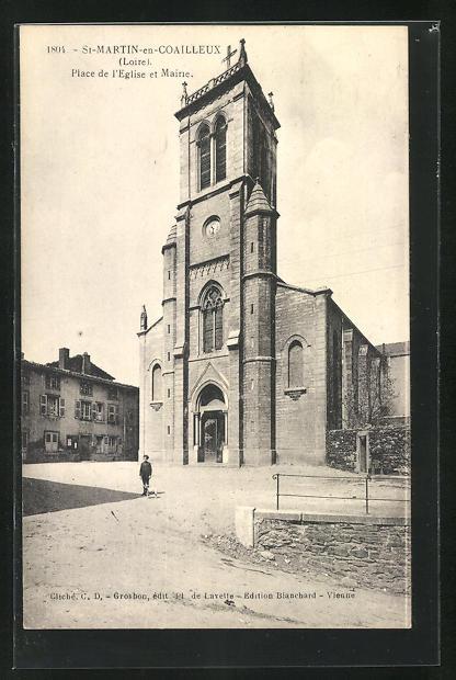 AK St-Martin-en-Coailleux, Place de l`Eglise et Maine