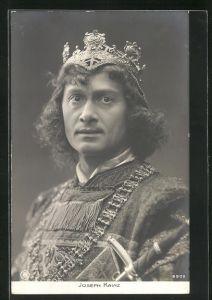 AK Schauspieler Joseph Kainz in seiner Rolle mit Krone und Schwert