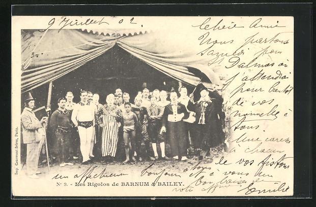 AK Zirkus Barnum & Bailey, Clowntruppe Les Rigolos