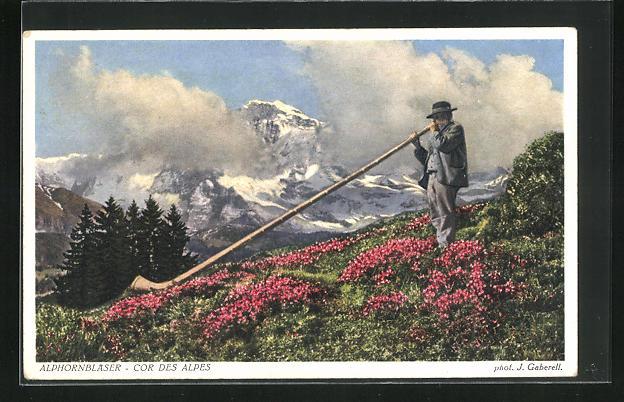 AK Alphornbläser vor Gebirgspanorama