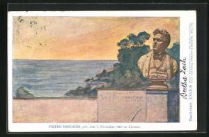 Künstler-AK Philipp + Kramer Nr. XXVII /8: Büste des Komponisten Pietro Mascagni, Blick aufs Meer