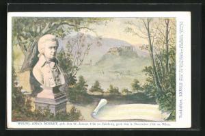 Künstler-AK Philipp + Kramer Nr. XXVII /2: Büste des Komponisten Wolfgang Amadeus Mozart