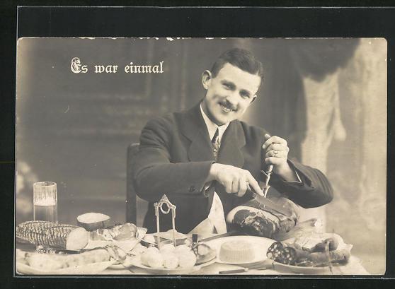 AK Herr geniesst eine reichhaltige Mahlzeit