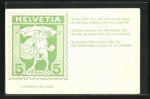 AK Briefmarke Helvetia 5 Franco, Schau, Vater, hier, den Apfel in der Hand..., Tell
