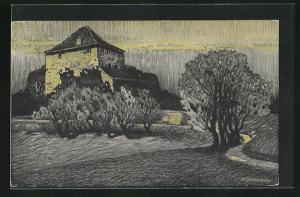 Künstler-AK sign. Bollmann: Landschaft mit altem Gebäude