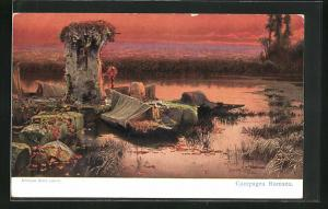 Künstler-AK sign. Enrique Serra: Campagna Romana, Landschaft