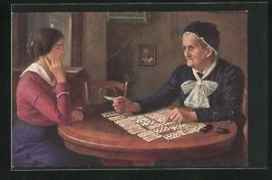 Künstler-AK Alfred Russo: Frage an das Schicksal, Hellseherin, Kartenleserin