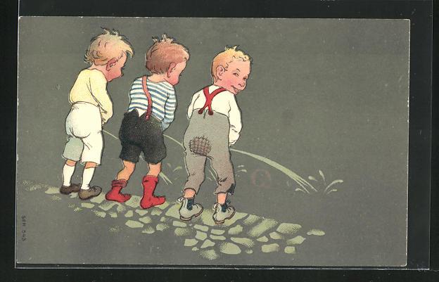 AK Drei Buben urinieren in Rinnstein