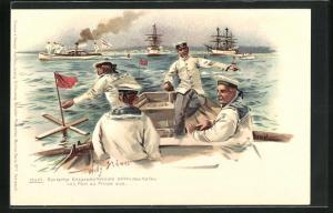 Künstler-Lithographie Willy Stoewer: Haiti, Deutsche Kriegsschiffboote peilen den Hafen von Port au Prince an