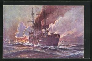 Künstler-AK Willy Stoewer: Kolonialkriegerdank, Beschiessung von Madras, SMS Emden