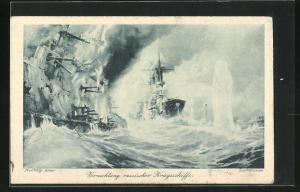 Künstler-AK Willy Stoewer: Vernichtung russischer Kriegsschiffe