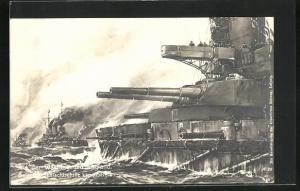 Künstler-AK Willy Stoewer: Auf der Wacht gegen England, Deutsche Schlachtschiffe kampfbereit