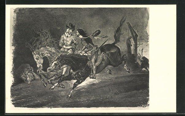 Künstler-AK Eugène Delacroix: Zu Goethes Faust, Reiter