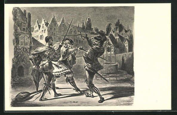 Künstler-AK Eugène Delacroix: Zu Goethes Faust, Fechtkampf