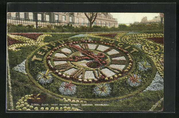 AK Edinburgh, Floral Clock, West Princes Street Gardens, Blumenuhr