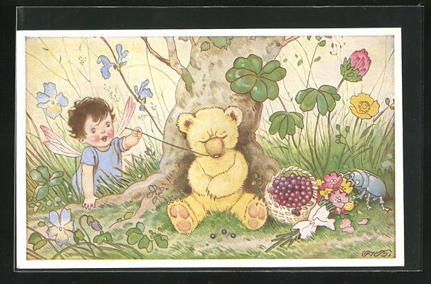 Künstler-AK Fritz Baumgarten: Kleine Fee neckt Teddy