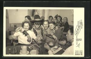 AK Fasching 1952, Cowboy und Fräuleins