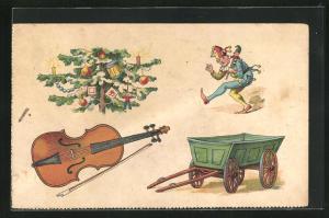 AK Bilderrätsel mit Weichnachtsbaum, Geige, Narr und Bollerwagen