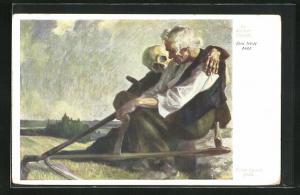 Künstler-AK Erich Lamm: Das letzte Feld, alter Sämann und der Tod