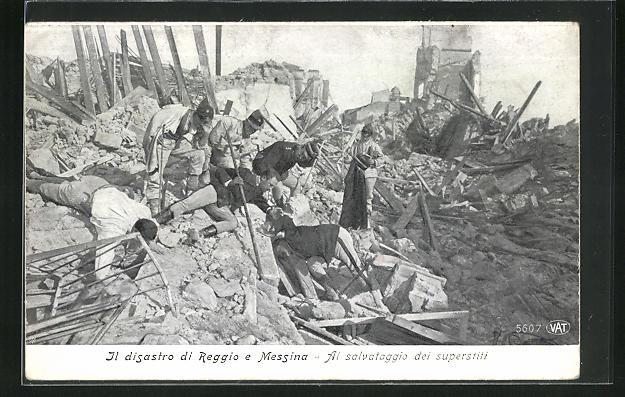 AK Messina, Al salvataggio dei superstiti, Rettungs von Erdbebenopfern