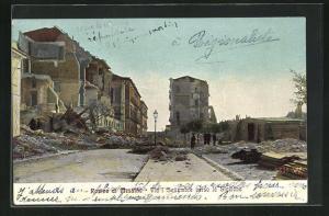 AK Messina, Via I Settembre verso la Stazione, Bahnhof nach dem Erdbeben