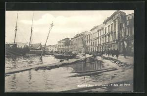 AK Messina, dopo il terremoto, veduta del Porto, Hafen nach Erdbeben