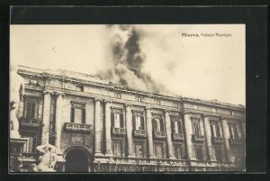 AK Messina, Palazzo Municipio, Brand nach Erdbeben