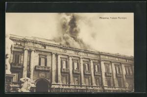 AK Messina, Palazzo Municipio, Erdbeben