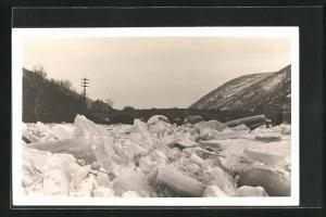 Foto-AK Eisstoss auf dem Rhein