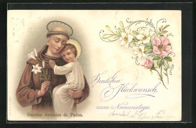 AK Glückwunsch zum Namenstage, Sanctus Antonius de Padua, Schutzpatron