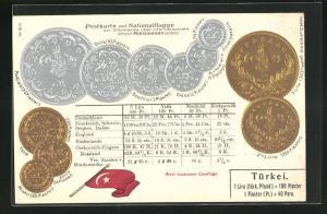 Präge-AK türkische Münzen mit Umrechnungstabellen, türkische Fahne