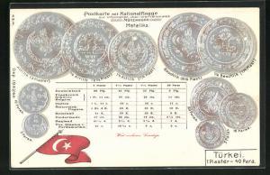 Präge-AK Türkische Münzen, Umrechnungstabelle, türkische Fahne