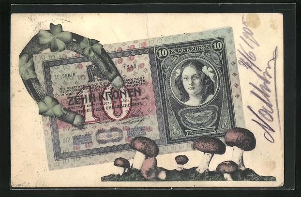 AK Geld Österreich-Ungarn, 10 Kronen Schein, Hufeisen mit Kleeblättern und Pilzen