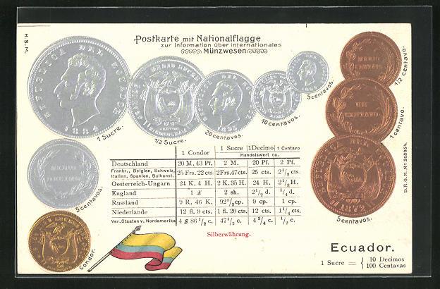 Präge-AK Geld aus Ecuador, Münzen und Umrechnungstabelle mit Fahne
