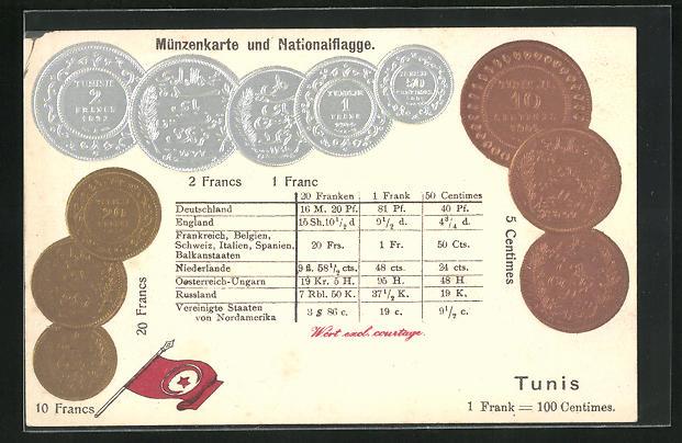 Präge-AK Geld aus Tunis, Münzen mit Umrechnungstabelle und Fahne