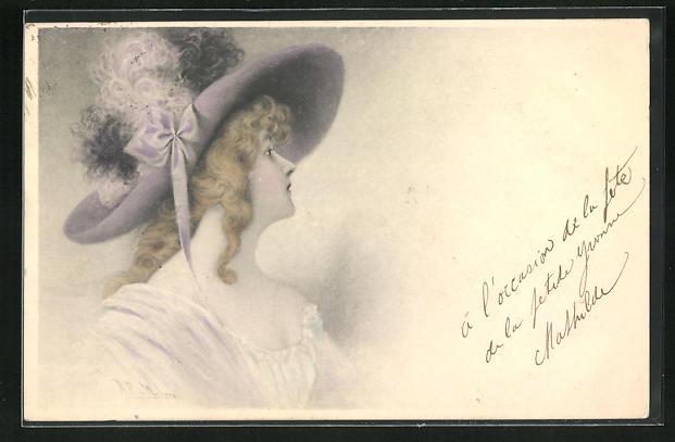 Künstler-AK Wichera: Elegante Dame mit blonden Locken und grossem Hut mit Federn
