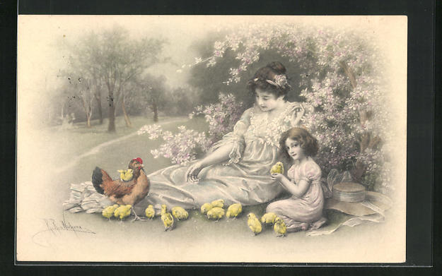 Künstler-AK Wichera: Mutter und Mädchen sitzen vor blühendem Strauss mit Küken und Henne
