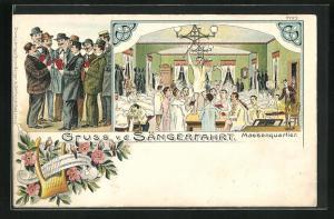 Lithographie Sängerfest, Massenquartier der Sängerfahrt, Herren in Anzügen singen, Harfe, Vögel und Blumen